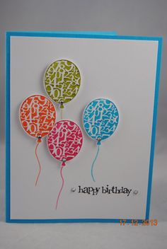 Homemade handmade greeting card making ideas with balloons birthday handcrafted colorful balloons birthday card m4hsunfo Image collections