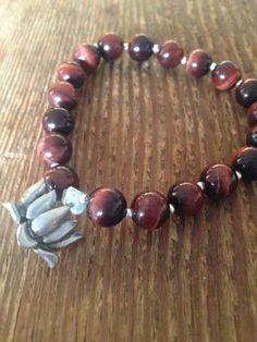 New Tiger's Eye Bracelet with Lotus Charm