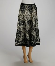 Another great find on #zulily! Black & White Peacock Sequin Skirt - Women by Zashi #zulilyfinds