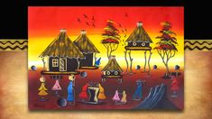 African Art - village life. Original acrylic on canvass street art from South Africa. See the full range plus 3000 other African products on our website www.earthafricacurio.com. Please also watch our YouTube videos. Art Village, African Art, South Africa, Street Art, Range, Website, Watch, Videos, Youtube