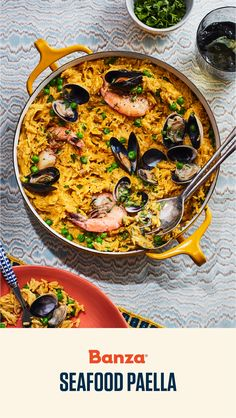 Save Print Seafood Paella Serves: 2 This seafood paella starts with our high protein chickpea rice simmered with saffron infused water. After the mussels, clams and shrimp are opened wi… Little Neck Clams, Saffron Rice, Seafood Paella, Easy Rice Recipes, Protein Pack, Frozen Peas, Rice Bowls, Mussels, Seafood Recipes