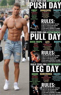 Push/Pull/Legs Weight Training Workout Schedule For 7 Days &; GymGuider Push/Pull/Legs Weight Training Workout Schedule For 7 Days &; GymGuider Rafael Dziubelski Body Push pull and legs is a […] workout schedule Push Workout, Workout Splits, Gym Workout Tips, Strength Training Workouts, Training Plan, Push Pull Legs Workout, Gym Workouts For Men, Weight Training Exercises, Body Workouts