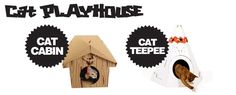 Every product from SUCK UK– Folded cardboard houses for cats.     The Cardboard Teepee & Cabin provide a more grown-up place for your feline friends to fall asleep. Shaped like the homes built by Native Americans and men of the American frontier, they evoke adventure, pioneering spirit and a life-on-the-edge attitude to life.