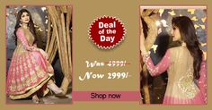 Deal of the day - #Pink and Cream Faux Georgette #Anarkali #suit! Was Rs. 4,999, Now only Rs. 2,999! Grab your piece before the deal closes on 2nd Sep 2014.  Order Now@ http://zohraa.com/pink-faux-georgette-anarkali-suit-karmashilpashetty6011.html