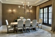 dining RM curtains and table love crown molding too