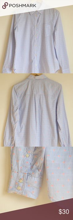 Gap M Medium Fitted Boyfriend Shirt Striped Dots Very cute fitted boyfriend button down with blue and white stripes and pink/orange neon textured polka dots! GAP Tops Button Down Shirts