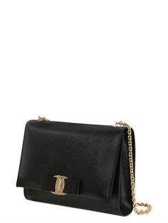 SAFFIANO LEATHER SHOULDER BAG Leather Shoulder Bag, Shoulder Bags, Shoulder Strap, Metal Chain, Grosgrain, Salvatore Ferragamo, Black, Shoulder Purse, Leather Products