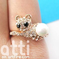 $8 Cute Kitty Cat Animal Ring with Rhinestones in Sizes 5 to 7.5 Only