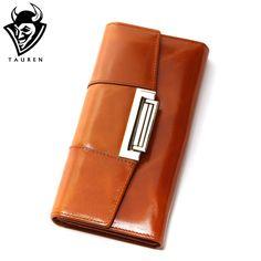Oil Wax Cowhide Women Genuine Leather Wallet Ccarteira Feminina Fashion Vintage Long Hasp Pocket Women's Coin Purse Medium-Long