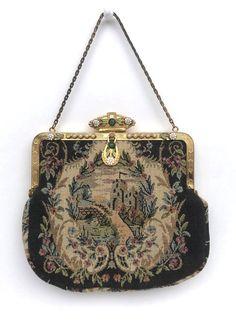 Vintage Purse Tapestry Enamel Pearls Antique Evening Bag | Etsy Vintage Purses, Vintage Handbags, Vintage Brooches, Art Deco Pattern, Tapestry Fabric, Silver Lake, White Enamel, Brass Chain, Clutch Wallet