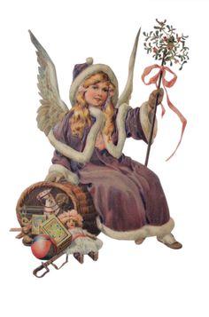 Christmas Angel Ornaments, Christmas Tag, Christmas Colors, Winter Christmas, Christmas Crafts, Victorian Angels, Victorian Christmas, Vintage Christmas, Holiday Images