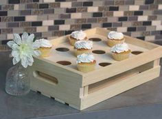 Not just for cupcakes, this insert that can be used in the Large and Half Wood Crates from Crates and Pallet could also be a store display for umbrellas, tea towels, bud vases, and more!