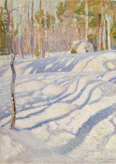 Artist from Sweden Winter Landscape, Landscape Art, Landscape Paintings, Forest Landscape, Winter Trees, Winter Art, National Gallery, Painting Snow, Snow Art