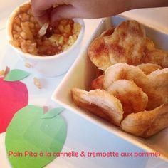 Trempette aux pommes et pain pita à la cannelle