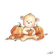 Teddy Bear with Pumpkins - Thanksgiving Print - Greeting Card - Holiday Gift - Printable by AnnaAbramskaya on Etsy