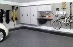 Gray Color With Black Border Line Carpet Tiles For Car Garage House Design With White Wooden Cabinet And Mounted Storage And Hanging Bicycle Storage From Ceiling Ideas, Garage Paint Ideas Decoration Garage Storage Shelves, Attic Storage, Garage Organization, Organized Garage, Organization Ideas, Garage Shelf, Wall Storage, Garage Remodel, Attic Remodel
