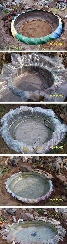 Life hacks - old tire into bird bath
