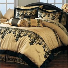 Black Gold Bedroom Damask Gold and Black Bedding Gold Bed, Luxury Bedroom Decor, Home, Luxurious Bedroom, Beautiful Bedding Sets, Luxurious Bedrooms, Hotel Bedding Sets, Bed, Gold Bedding Sets