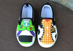 Boutique Custom Hand Painted Disney Pixar Inspired Woody And Buzz Toy Story WITH Name Gym Skater Slip-On Toddler Shoes on Etsy, $44.99