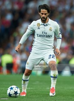 Isco of Real Madrid in action during the UEFA Champions League Quarter Final second leg match between Real Madrid CF and FC Bayern Muenchen at Estadio Santiago Bernabeu on April 18, 2017 in Madrid, Spain.