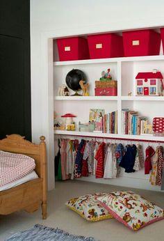Maja's Magical Space, Kids Room Tour via apartment therapy Kid Closet, Closet Space, Closet Ideas, Closet Nook, Closet Redo, Ideas Para Organizar, Kids Room Design, Nursery Design, Room Tour