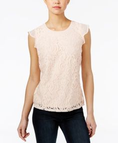 Maison Jules Lace Flutter-Sleeve Top, Only at Macy's | macys.com