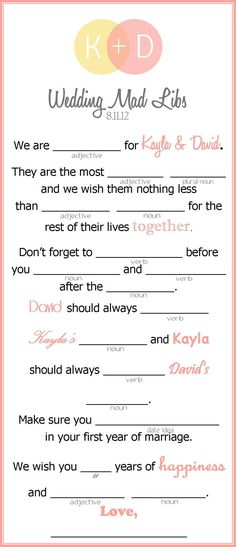 Wedding Mad Libs  Wedding Activity for Guests  3 to by kjones4099, $12.00