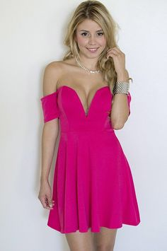 Fuschia Off The Shoulder Plunge Dress #homecoming