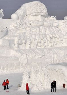 Santa Claus giant snow sculpture, at the Harbin International Ice and Snow Festival in China