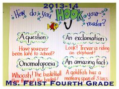 "Writers' Workshop mini-lesson: Narrative writing starts with a good ""HOOK""!"
