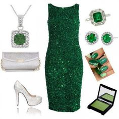 A fashion look from August 2012 featuring green sequin dress, heel pump and chain strap purse. Browse and shop related looks. Fashion Line, Love Fashion, Womens Fashion, Fashion Sets, Fashion Colours, Dress Fashion, Fashion Styles, Fashion Outfits, Verde Jade