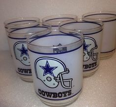 Vintage 70s Mobil Oil Frosted Dallas Cowboys Bar Glasses Six 6