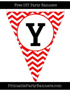 Red and White Pennant Chevron Capital Letter Y