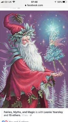 santa, yes. but also captures the essence of Yule Tidings as well Christmas Fairy, Father Christmas, Winter Christmas, Christmas Holidays, Christmas Crafts, Merry Christmas, Xmas, Christmas Decorations, Magical Christmas