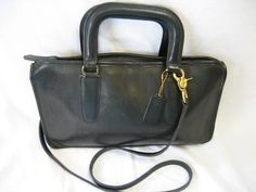 Rare Vintage Coach Black Leather Briefcase Style Crossbody Handbag Made in NYC by CLASSYBAG on Etsy