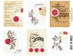 Ephemera's Vintage Garden: Free Printable - Christmas Holly Journal Cards