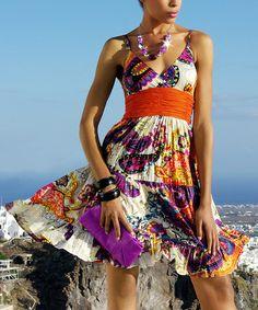 This Orange & Purple Empire-Waist Dress is perfect! #zulilyfinds