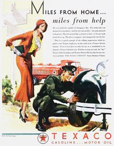 Texaco Miles From Home Miles From Help 1930s - Mad Men Art: The 1891-1970 Vintage Advertisement Art Collection