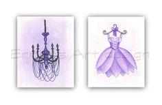 Baby Girl Nursery, Ballet Dress, Chandelier wall art, French Girls room decor, SET 2, Purple, Shabby chic nursery art, Girl nursery decor