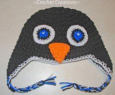 Free Crochet Penguin Ear Flap child hat Pattern by Amy Lehman  © amray767