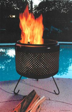 Here's how to make a washing machine drum fire pit for your patio! DIY + safety instructions included!