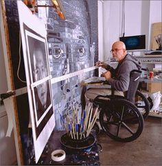 Chuck Close his in studio