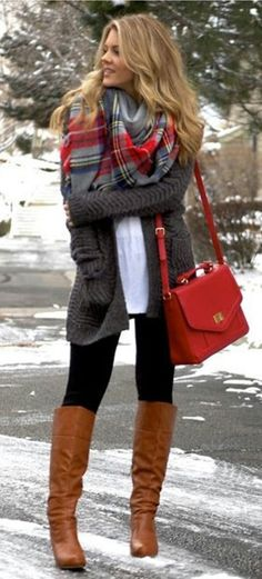 #winter #outfits gray, red, and blue plaid scarf