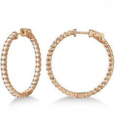Large Round Diamond Hoop Earrings 14k Rose Gold (3.25ct) - Allurez.com