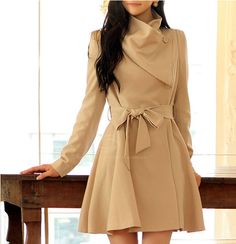Elegant V-Neck Changful Collar Bow Tie Belt Long Sleeves Solid Color Polyester Coat For Women (APRICOT,XL) | Sammydress.com