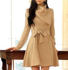 Elegant V-Neck Changful Collar Bow Tie Belt Long Sleeves Solid Color Polyester Coat For Women (APRICOT,XL)   Sammydress.com