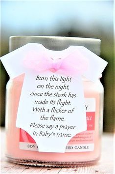 Baby Shower Candle Party Favors ~ Burn this light on the night once the stork has made its flight ~ Onesie Thank You Gift Tags ~ www.kendollmade.com #babyshowergifts