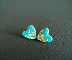 Gold & turquoise hearts