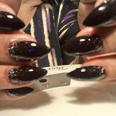 Rena Smith's stilettos with #CND dark dahlia