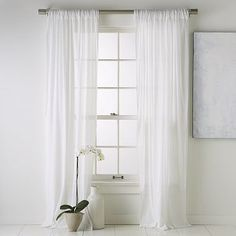 White linen curtains!